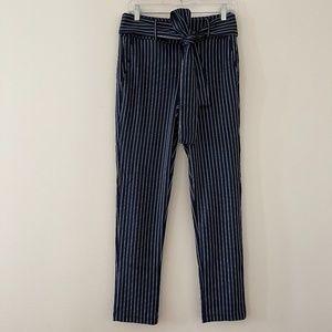 Lezé the Label Comfy Blue + White Pinstriped Pants